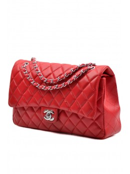 Кожаная сумка Chanel Chanel Flap Bag Red Silver 30